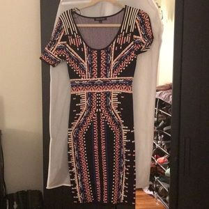 Printed midi fitted dress